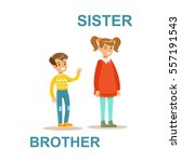 younger brother and older... | Shutterstock .eps vector #557191543