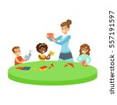 three children in art class... | Shutterstock .eps vector #557191597
