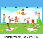young children in art class... | Shutterstock .eps vector #557191843