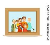 happy family having good time ... | Shutterstock .eps vector #557191927