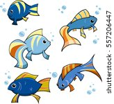 five different fish with bubbles | Shutterstock .eps vector #557206447