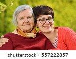 grandmother and granddaughter.... | Shutterstock . vector #557222857