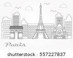 paris city skyline silhouette.  ... | Shutterstock .eps vector #557227837