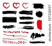 set of black paint  ink brush... | Shutterstock .eps vector #557228557
