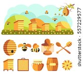 apiary vector illustrations.... | Shutterstock .eps vector #557229577