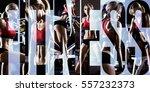 bodybuilding   execute exercise ... | Shutterstock . vector #557232373
