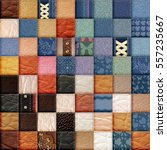 leather and jeans patchwork... | Shutterstock . vector #557235667