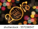 happy new year 2018 written... | Shutterstock . vector #557238547