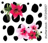 Spots Pattern Tropic Flowers...