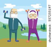 old couple training outdoors... | Shutterstock .eps vector #557255197