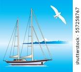 yacht sailing vector. | Shutterstock .eps vector #557258767