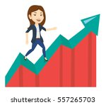 business woman standing on... | Shutterstock .eps vector #557265703