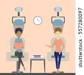 hair dry in salon. two women... | Shutterstock .eps vector #557280097