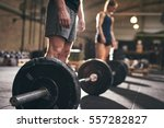 fit people standing at barbells ... | Shutterstock . vector #557282827