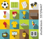soccer football icons set. flat ... | Shutterstock .eps vector #557296447