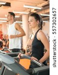 young woman working out in a... | Shutterstock . vector #557302657