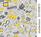cinema seamless pattern with... | Shutterstock .eps vector #557305873