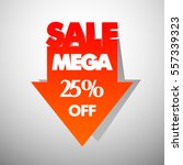mega sale arrow banner in pop... | Shutterstock .eps vector #557339323