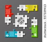 puzzle four piece business... | Shutterstock .eps vector #557339413