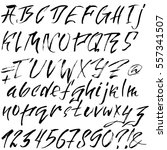hand drawn font made by dry... | Shutterstock .eps vector #557341507