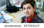 young boy student  studying... | Shutterstock . vector #557355127