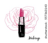 hand drawn vector lipstick and... | Shutterstock .eps vector #557363143