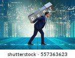 man under the burden of loan | Shutterstock . vector #557363623