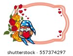 oval label with roses and cute...   Shutterstock .eps vector #557374297