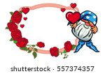 oval label with roses and cute... | Shutterstock .eps vector #557374357