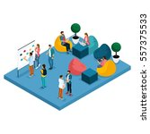 isometric concept of coworking... | Shutterstock .eps vector #557375533