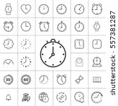 thin line clock  alarm icon on... | Shutterstock .eps vector #557381287