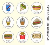 set of fast food icons. drinks  ... | Shutterstock .eps vector #557391157
