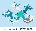 isometric icon of many storey... | Shutterstock .eps vector #557391877