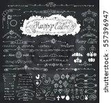 easter decoration set.doodles... | Shutterstock .eps vector #557396947
