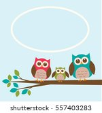 Cute Owl Family On Branch With...