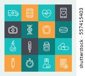 medicine icons set in line... | Shutterstock .eps vector #557415403