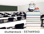 blurry empty classroom in... | Shutterstock . vector #557449543