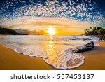 beautiful hawaiian sunset on... | Shutterstock . vector #557453137