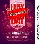 Valentines Day party flyer with hand made lettering. Valentines Day Vector illustration. Valentine's Day art, Valentine Day greeting card | Shutterstock vector #557459953