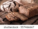 fresh traditional bread on... | Shutterstock . vector #557466667