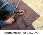 roofer install asphalt roof...   Shutterstock . vector #557467297