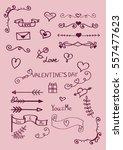 hand drawn valentine's day... | Shutterstock .eps vector #557477623