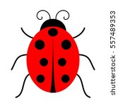 cute red ladybug on white... | Shutterstock .eps vector #557489353
