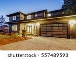 new construction home exterior... | Shutterstock . vector #557489593