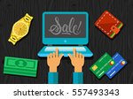 sale lettering on laptop screen | Shutterstock .eps vector #557493343