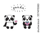 doodle panda bears  isolated... | Shutterstock .eps vector #557495083