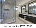 spacious bathroom in gray tones ... | Shutterstock . vector #557515903