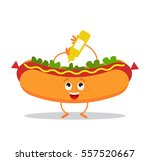 funny hot dog in a cartoon... | Shutterstock .eps vector #557520667