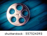 35mm film reel with dramatic... | Shutterstock . vector #557524393