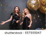 happy party moments of two... | Shutterstock . vector #557555047